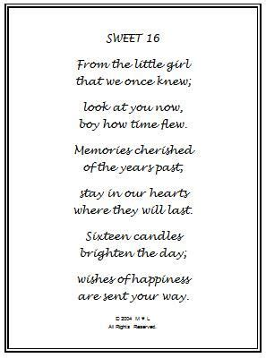 Sweet 16 Birthday Quotes For Happy Sweet Sixteen Birthday Poem 16th Birthday Wishes