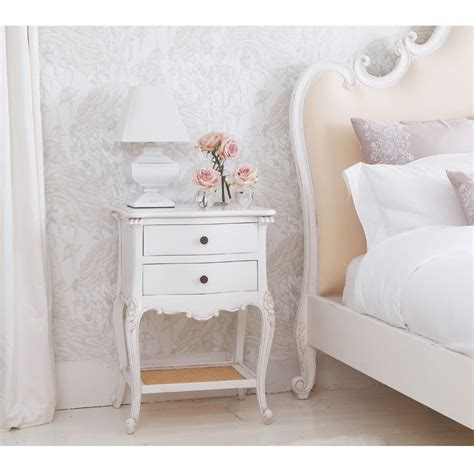white bedside table provencal 2 drawer white rattan bedside table drawers