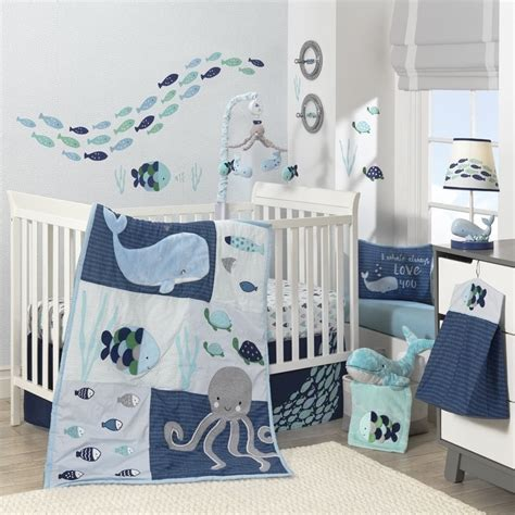 blue nursery bedding sets shop lambs oceania blue gray white whale with octopus and fish nautical 6