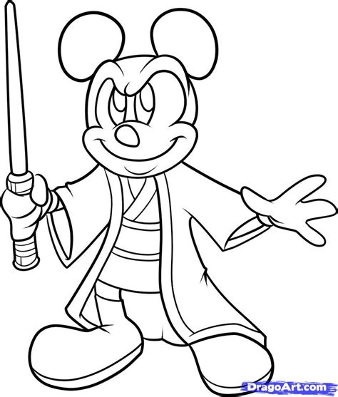Mickey Mouse Star Wars Coloring Pages   how to draw jedi mickey step by step disney characters