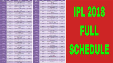full hd video time table vivo ipl 2018 vote for your favorite players schedule