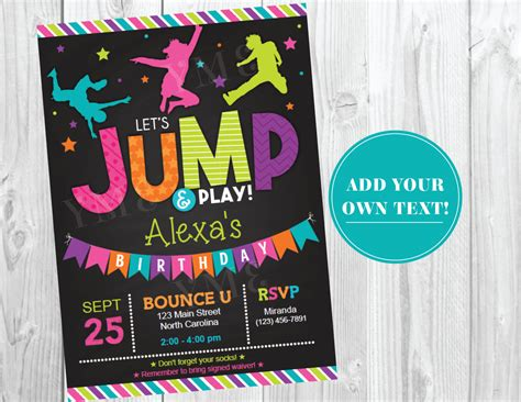 Jump Birthday Invitation Troline Party By Yourmaineventprints Free Bounce Invitation Template
