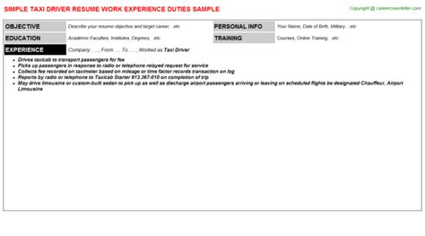 Taxi Driver Description by Taxi Driver Resume Sle