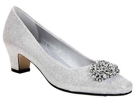 Low Heel Silver Evening Shoes Mad Heel