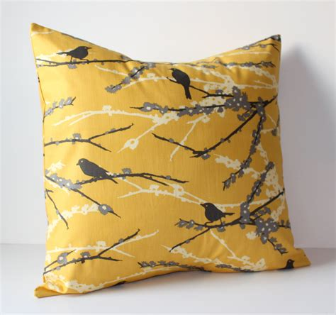 Mustard Yellow Decorative Pillows by Decorative Pillows Cover Mustard Yellow Gray Birds 18 X