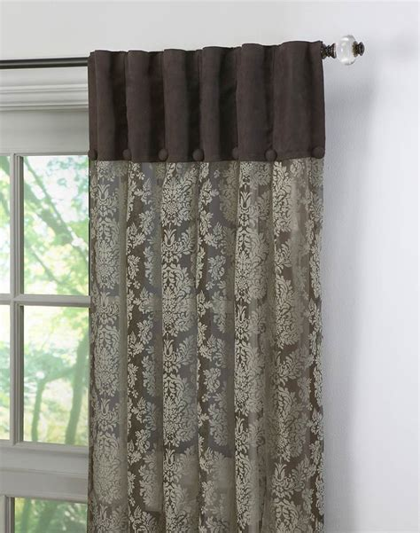 traditional drapery traditional damask lace inverted pleat panel chocolate