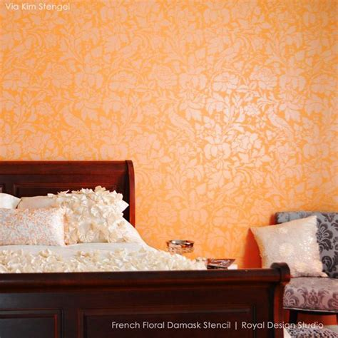 plastic paint for walls french floral damask wall pattern stencil romantic