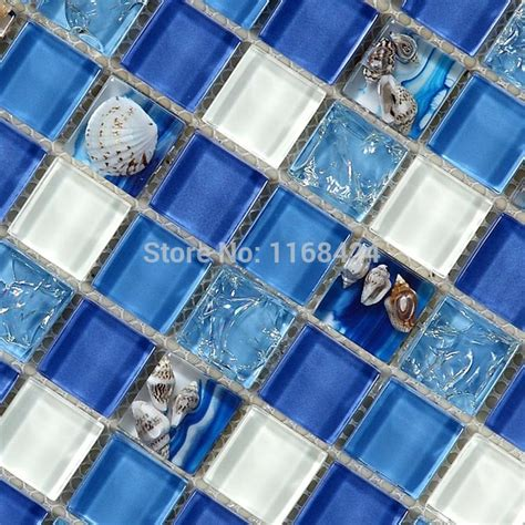 sea glass mosaic tile bathroom deep blue sea shell glass mosaic tiles for kitchen