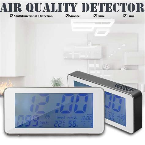 pm2 5 digital calendar alarm smart clock pm2 5 detection time temperature humidity us power