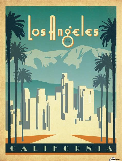 Poster Design Los Angeles | los angeles california travel poster vintage poster canvas