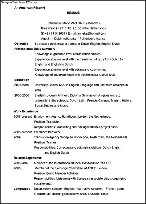 Sle Resume Format In Usa American Resume Format Sle 28 Images Resume In Colorado Sales Lewesmr Engineering Resume