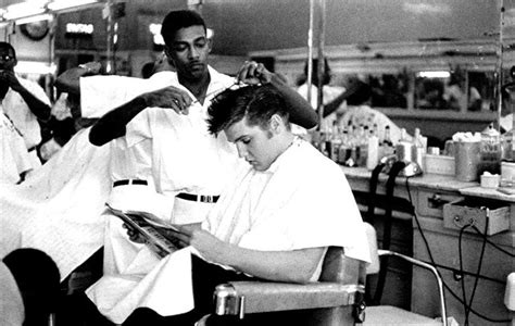 haircuts downtown memphis this photo of elvis getting a haircut at jim s barber shop