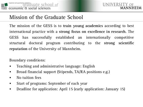 Of Mannheim Mba Deadline by Graduate School Of Economics And Social Sciences At The