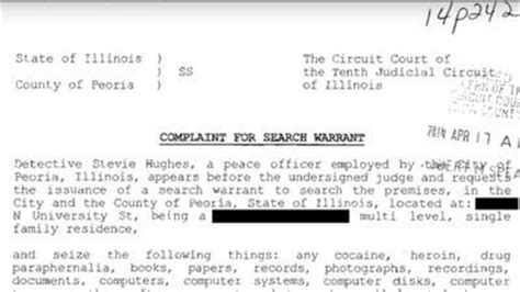 Illinois Warrant Search Pdf Search Warrant For Home Of Peoriamayor Tweeter