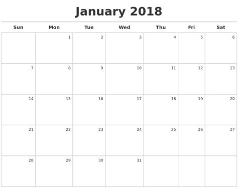 printable calendar horizontal 2018 horizontal printable calendar download of all months