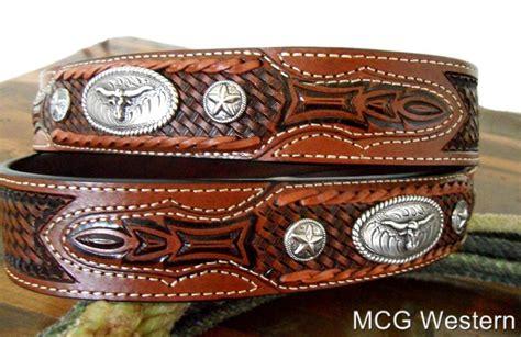 western tooled leather belt w longhorn buckle