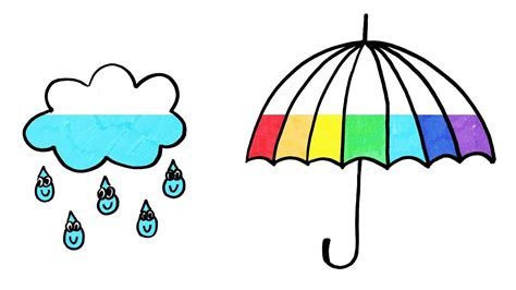 rainbow umbrella coloring page 171 funnycrafts how to draw rainbow umbrella and rain cloud coloring page