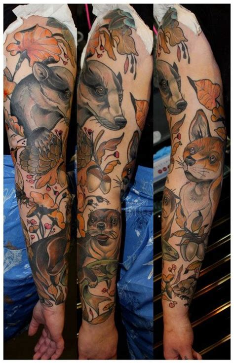 animal tattoo sleeve woodland animal sleeve ink animales