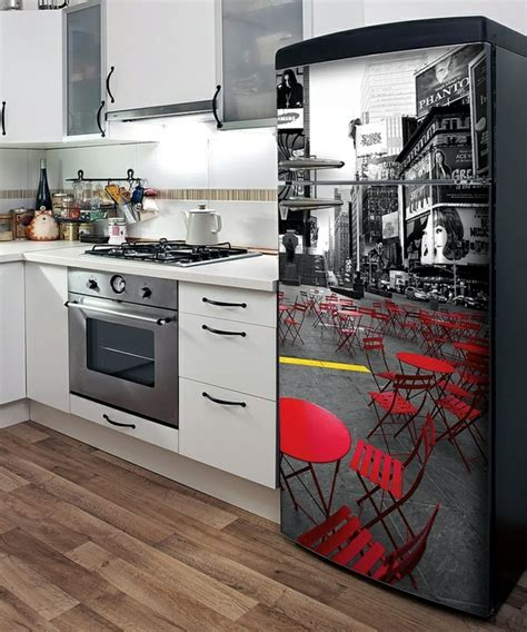 White And Black Kitchen Ideas the old refrigerator while ideas with stickers and