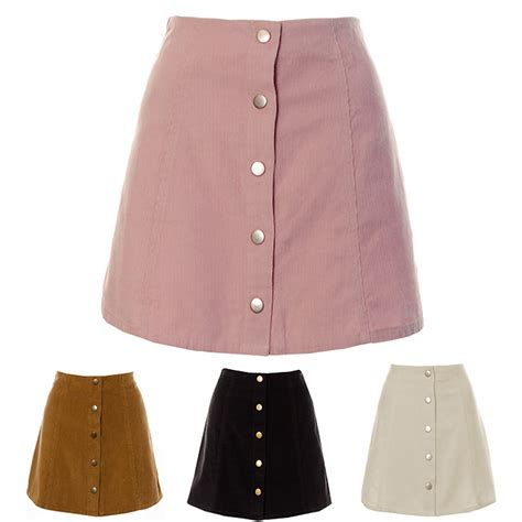 womens a line black pink white cord button skirt