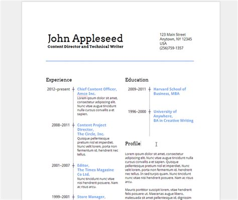 create an eye catching resume in docs