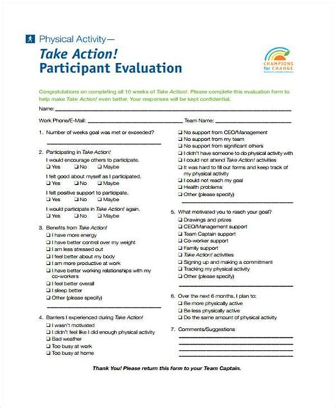 activity evaluation form template activity evaluation template activity