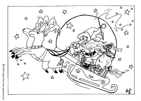 coloring page of santa in his sleigh reindeers and sleigh coloring pages hellokids com