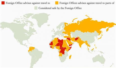 heres  list   dangerous countries  tourists map