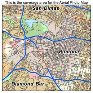 aerial photography map of pomona ca california