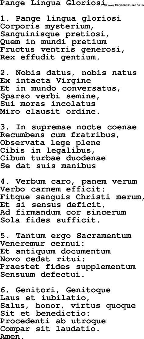 pange lingua testo catholic hymns song pange lingua gloriosi lyrics and pdf