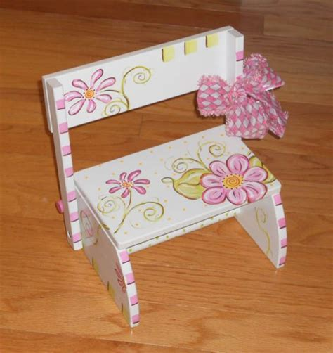 Painted Childrens Step Stools by Painted Flower Flip Step Stool Painted
