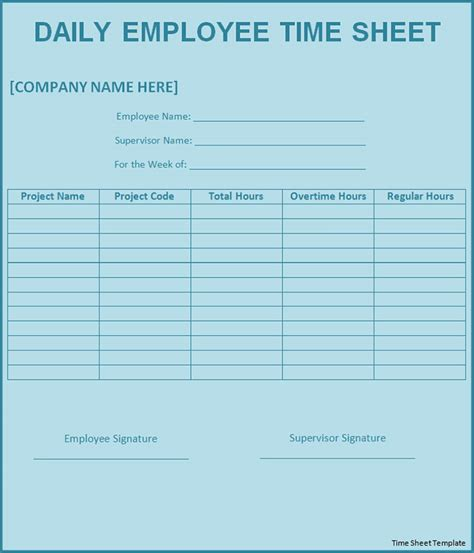 printable time sheet related for 10 printable timesheet