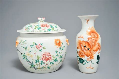 Ff Bowl Dia 23 Cm 683 a famille bowl and cover and a vase with
