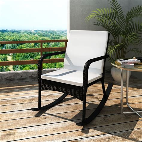 Black Garden Rocking Chair Quality Poly Rattan Vidaxl Com Rocking Garden Chair