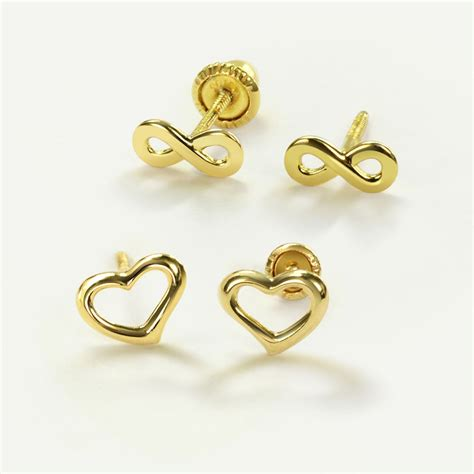 infinity sign earrings 14k gold infinity symbol baby safety screwback stud earrings