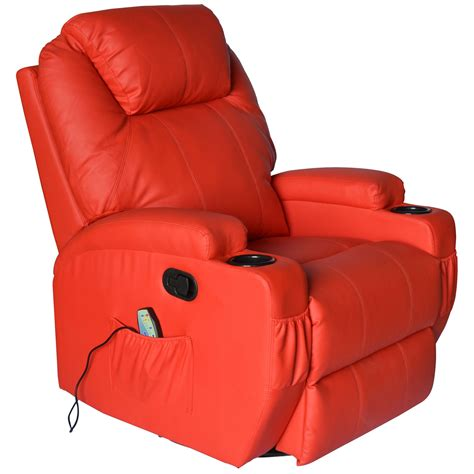 vibrating recliner chairs homcom deluxe heated vibrating pu leather massage recliner