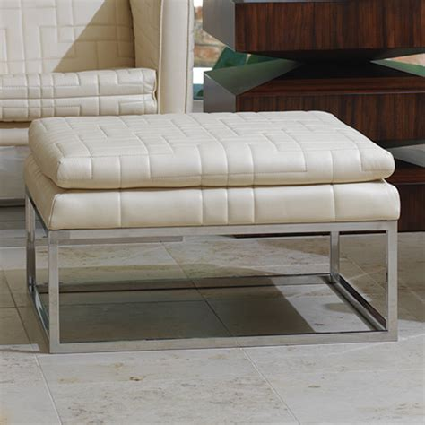 quilted ottoman quilted tuxedo ottoman in ivory footstools and ottomans