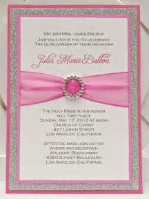 custom handmade pink silver glitter sweet sixteen 16 quinceanera invitations with pocket via