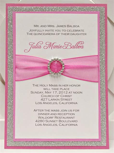 Handmade Invitations - custom handmade pink silver glitter sweet sixteen 16