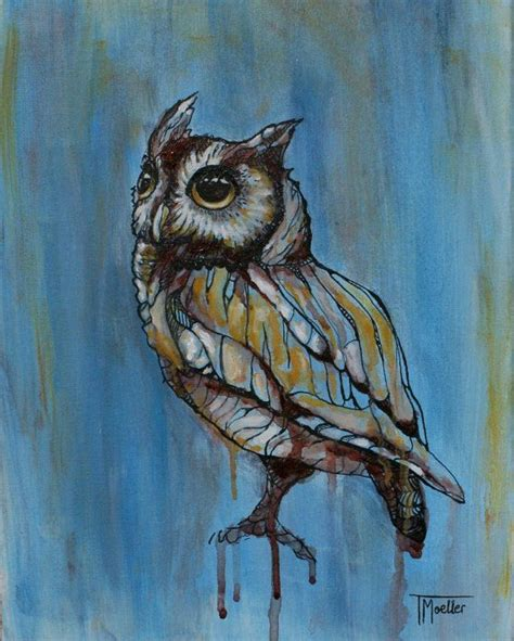 original owl painting ink owl painting owl blue owl brown owl canvas owl drip owl mixed media