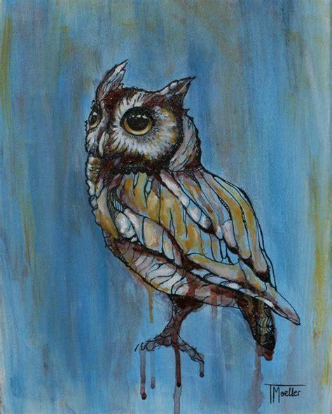 original owl painting ink owl painting owl blue owl brown owl canvas owl drip owl mixed media