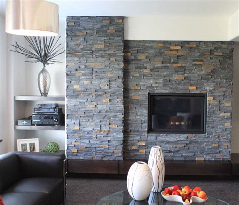 Stone Veneer Fireplace   Modern   Living Room   Baltimore   by Realstone Systems