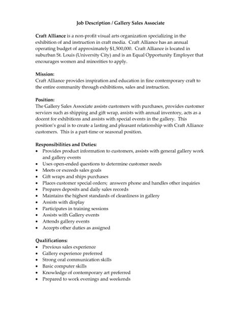 Resume Sles Description Sales Associate Duties For Resume Best Resume Gallery