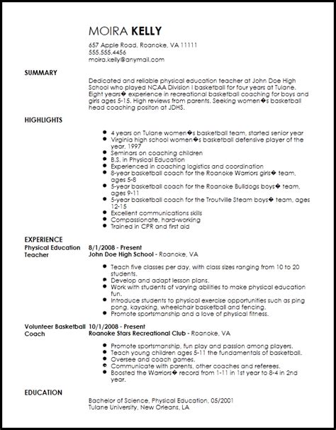 sports resume template free traditional sports coach resume template resumenow