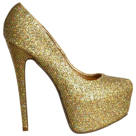 shoekandi sparkly gold glitter shimmer high heel stiletto