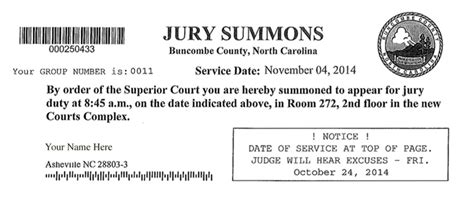 Jury Service Letter Sent To Address Jury Duty In Buncombe County Nc 10 Things You Want To