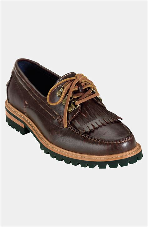 cole haan boat shoes cole haan monroe kiltie boat shoe in brown for men dark