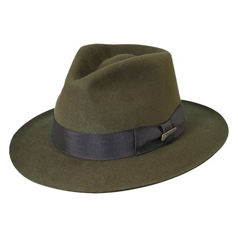 Fedora Hats mens fur felt indiana jones 2 5 inch brim fedora hat by dorfman pacific safari outback hats