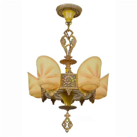 Slip Shade Chandelier Antique 5 Light Deco Slip Shade Chandelier By Williamson Ant 368 For Sale Antiques