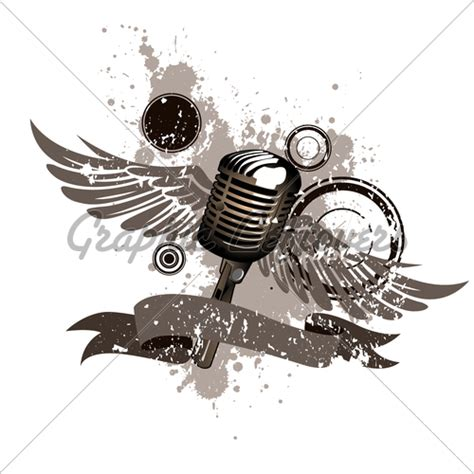 microphone wings tattoo retro microphone grunge 183 gl stock images